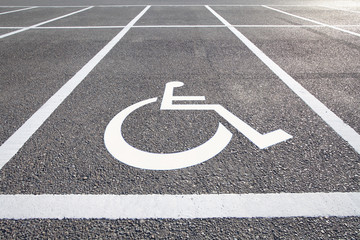 Handicap parking areas reserved for disabled people..