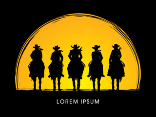 Silhouette, Cowboy Gangs on horse, designed on moonlight background graphic vector.