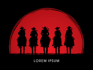 Silhouette, Cowboy Gangs on horse, designed on sunset or sunrise background graphic vector.