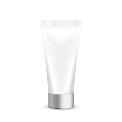 Make up. Tube of cream or gel white plastic product. Container, product and packaging. White background.