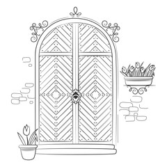 Door with flower tulips. Hand drawn sketch illustration isolated on white background