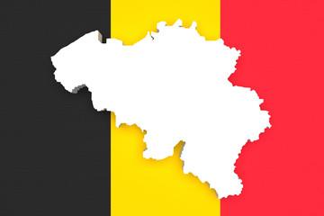 Silhouette of Belgium map with Belgium flag