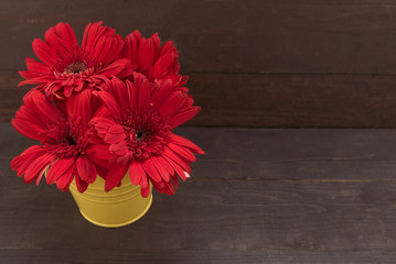 Red gerbera flowers are in the flowerpot, on the wooden backgrou