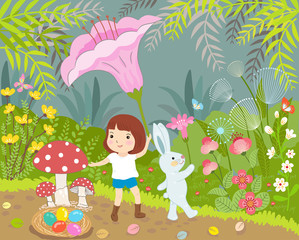 girl and rabbit in wonderful day