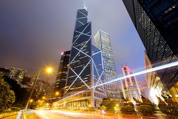 Night traffic in Central Hong Kong.
