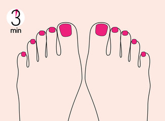 Illustration of perfect polished toes nails drying. Timing. Pedicure step by step