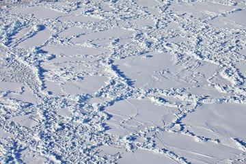 Aerial view of frozen Arctic Ocean