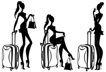 Wall Mural - traveler fashion girls with suitcases