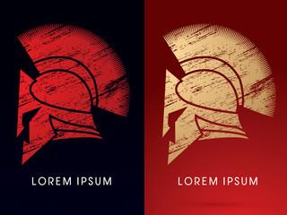 Luxury Roman or Greek Helmet , Spartan Helmet, designed using grunge brush, icon, graphic, vector.