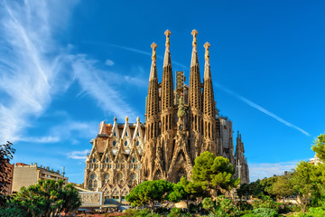 Zelfklevend Fotobehang Barcelona Nativity facade of Sagrada Familia cathedral in Barcelona
