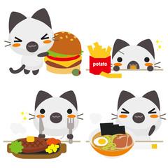 ネコとーく。シャム猫 食事