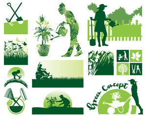 Gardening vector icons and elements collection