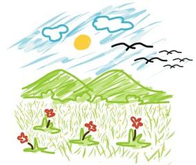 Kid style Vector Mountain and sun