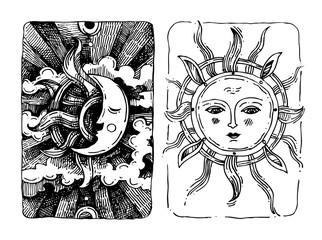 Decorative sun and moon