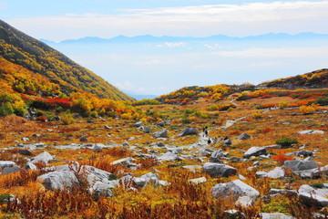 紅葉の千畳敷カールからの眺望