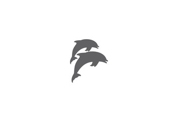 Jumping dolphins vector illustration logo
