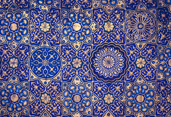 Gold and blue ceiling in a muslim mosque