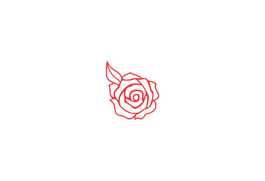 Red rose handmade vector illustration logo