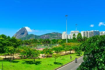 Flamengo and mountain Sugar Loaf and Urca in Rio de Janeiro. Brazil