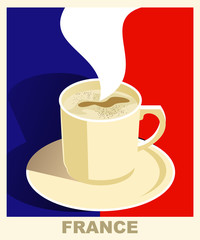 Art deco coffee poster with flag France. Coffee vintage concept.