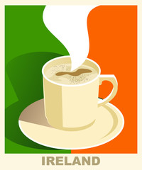 Art deco coffee poster with flag Ireland. Coffee vintage concept