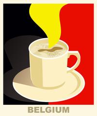 Art deco coffee poster with flag Belgium. Coffee vintage concept