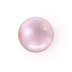 Single rosaline pearl isolated on white background