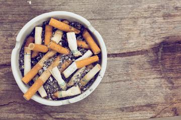 cigarette stub in ashtray