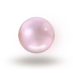 Single rosaline pearl isolated on white background