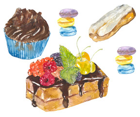 Sweet desserts. Watercolor painting. desserts, fruit cake, cupcake and cake.
