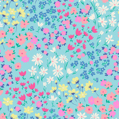 vector seamless bright small ditsy flower pattern, gentle spring summer mood hand drawn floral background print