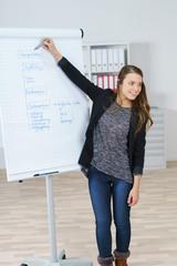 motivierte geschäftsfrau hält einen vortrag am arbeitsplatz
