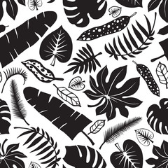 Tropical leaves,branches seamless pattern.Black