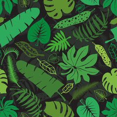 Tropical leaves,branches seamless pattern.Green,black