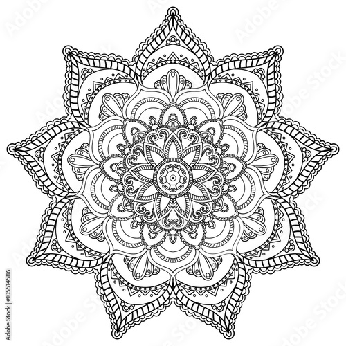 mandala round ornament template for coloring book stock image and