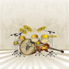 raster version drum kit and Jazz guitar