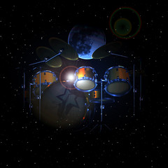 raster version drum set in space on background of the moon