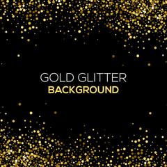 Gold confetti glitter on black background. Abstract gold dust glitter background. Golden explosion of confetti. Golden grainy abstract background.