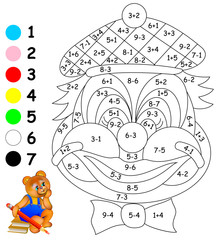 Exercises for children - need to paint image in relevant color. Developing skills for counting. Vector image.