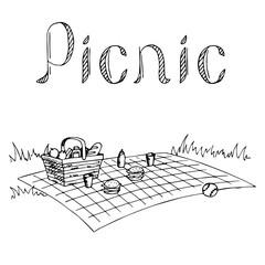 Picnic graphic art black white illustration vector