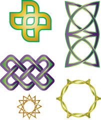 Collection of Celtic knot ornaments. Graphic element vector.