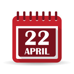 Flat calendar apps icon. Earth Day April 22
