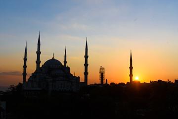 blaue moschee blaue stunde sonnenuntergang istanbul türkei
