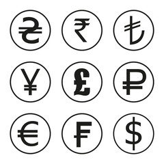Icons set of currencies of the world. Dollar, euro, pounds, francs, rupees, yen