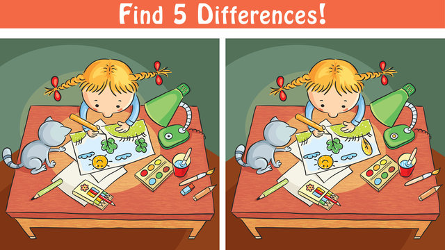 Find differences game with a cartoon girl drawing a picture