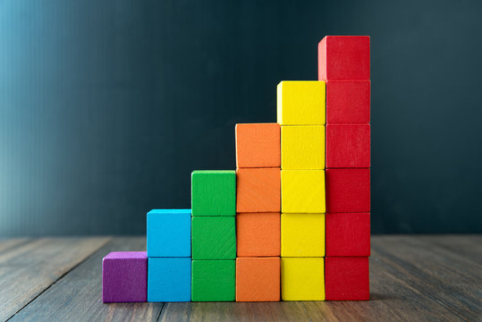 Colorful stack of wood cube building blocks