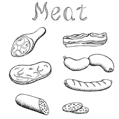 Meat set graphic art black white isolated illustration vector