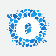 O letter in a circle of splashes and drops of water.