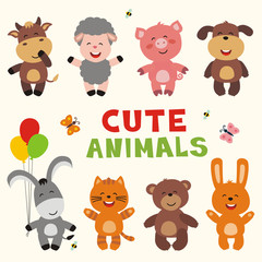 cute animals vector set, collection funny animals isolated