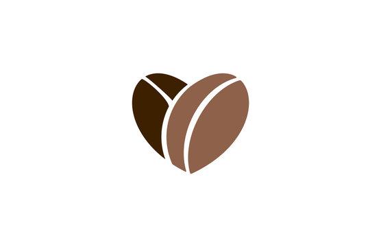 love coffee beans heart abstract logo